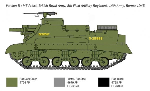 Italeri 6580 M7 Priest Howitzer Motor Carriage 1/35