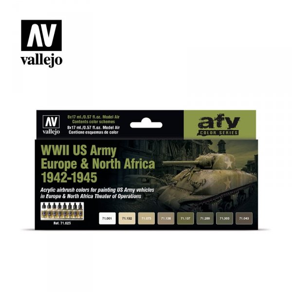 Vallejo 71625 WWII US Army Europe & North Africa 1942-1945 8x17ml