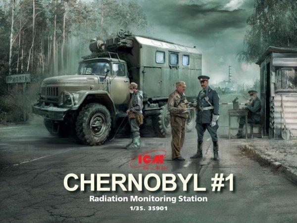 ICM 35901 Chernobyl #1 Radiation monitoring station (ZiL-131KShM truck & 5 figures & diorama base with background) 1/35