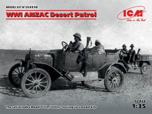 ICM DS3510 WWI ANZAC Desert Patrol (Model T LCP, Utility, Touring) 1/35