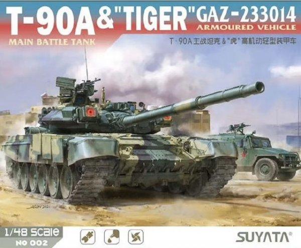 "Suyata NO-002 T-90A Main Battle Tank & ""Tiger"" Gaz-233014 Armoured Vehicle 1/48"