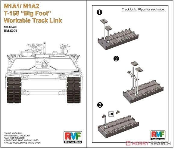 """Rye Field Model 5009 M1A1/M1A2 T-158 """"Big Foot"""" Workable Track Link 1/35"""