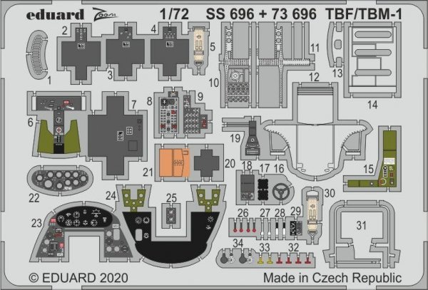 Eduard 73696 TBF/ TBM-1 Avenger 1/72 HASEGAWA