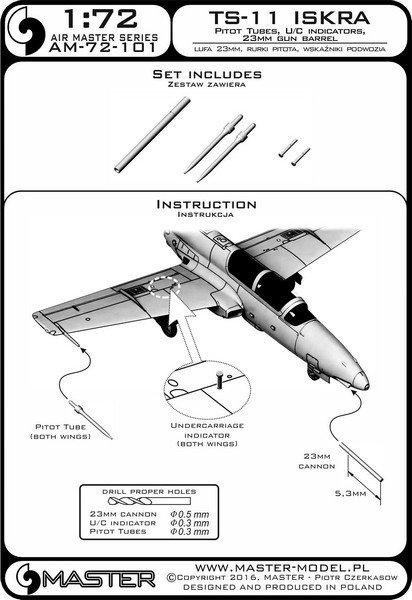 Master AM-72-101 TS-11 Iskra - Pilot Tubes and 23mm gun barrel 1:72