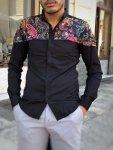 Camicia uomo slim fit - Camicie blu - Camicia floreale