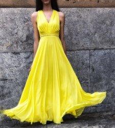 Abito donna elegante - Vestito lungo giallo - Yellow