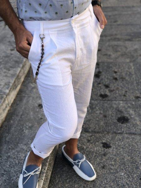 Pantaloni bianchi Lino, modello crop - Gogolfun.it