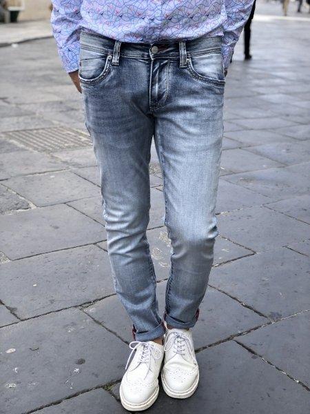 Jeans, Chiaro con 5 tasche - Jeans modello skinny  - Key jey -  Gogolfun.it