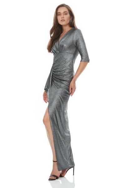 Vestito elegante argento - Abito da cerimonia argento - Vestiti eleganti lunghi - Gogolfun.it