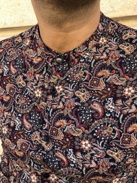 Camicia uomo, fantasia bordeaux - Camicia Coreana