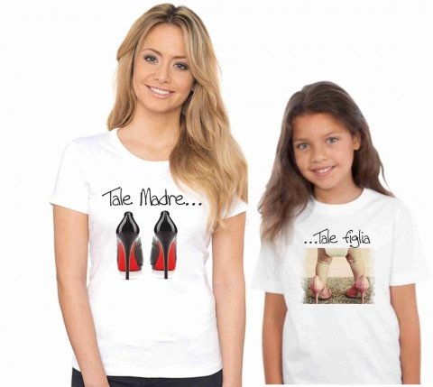 T shirt mamma e figlia - Bianca - Gogolfun.it