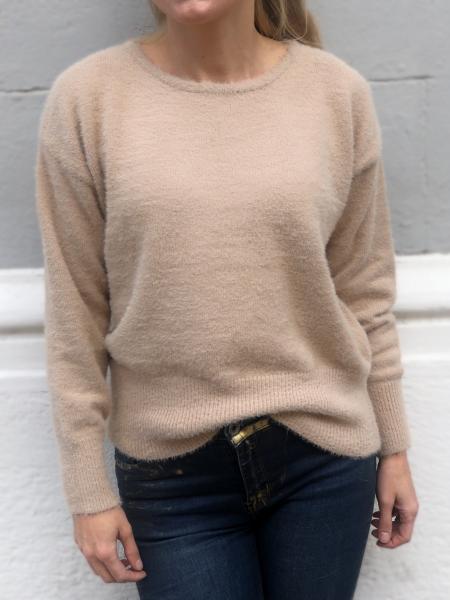 Maglione donna, beige - maglioni con schiena scoperta - Pullover donna - Gogolfun.it