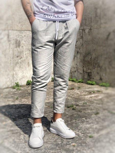 Pantaloni - Pantaloni grigi - Pantaloni in lino - Gogolfun.it