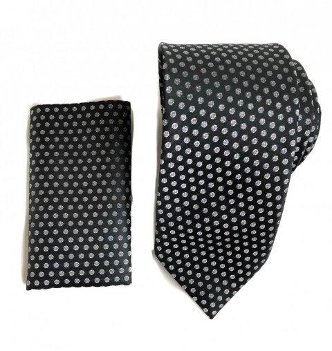 Cravatta - Cravatte con pochette - Cravatta nera argento - Gogolfun.it