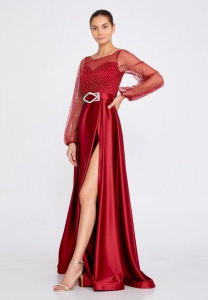 Vestito rosso - Da cerimonia - Con spacco - Abiti da cerimonia - Gogolfun.it