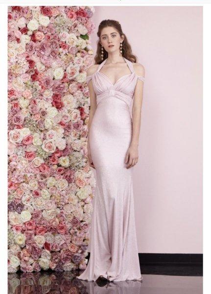 Vestito a sirena - Lungo - Abito elegante rosa - Vestito damigelle - Gogolfun.it