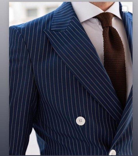 Abito uomo blu, gessato - Doppiopetto 6 bottoni - Vestito uomo blu - Abito uomo blu - Gogolfun.it