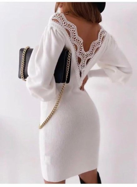 Abito in maglia - Maxi pull donna - Abito in maglia bianco - Maglioni donna gogolfun.it