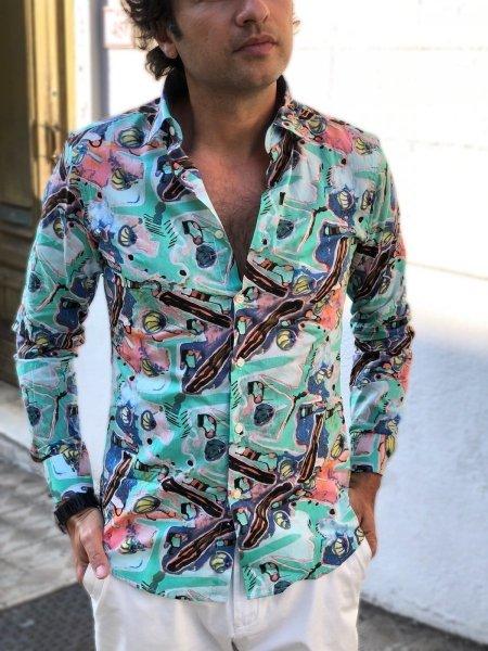 Camicia uomo particolare, verde acqua - Fantasia estiva - Gogolfun.it