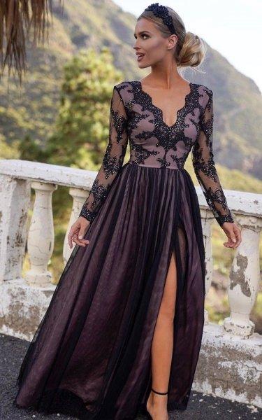 Długa Elegancka czarna sukienka - Czarna sukienka – sukienki wieczorowe – Gogolfun.pl