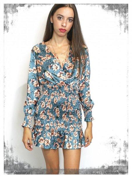 Elegancka krótka sukienka w kwiaty - Giorgia- Sukienki damskie - Sklep internetowy - gogolfun.pl