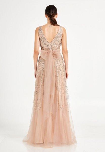 Vestito oro - Oro lungo elegante - Corpetto decorato - Cerimonia donna - Gogolfun.it