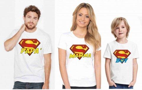 Tris T-shirt Superman - Maglietta Mamma Papà e figlio - Gogolfun.it