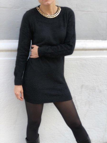 Maxi pull - Pullover donna, lungo - Maglione lungo, nero - Maglioncini donna - Gogolfun.it