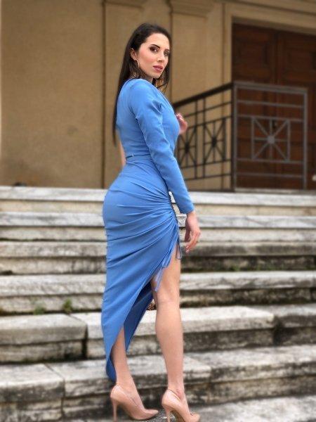 Vestito monospalla - Azzurro - Vestiti corti - Tubino donna - Gogolfun.it