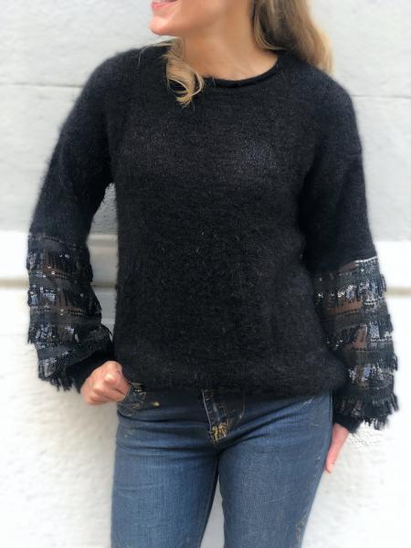Maglioncino nero, con maniche particolare - Abbigliamento donna gogolfun.it