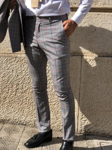 Pantaloni uomo slim, Principe Galles - Gogolfun.it