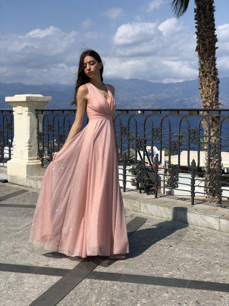 Vestito lungo elegante - Tessuto brillantinato - Star rose