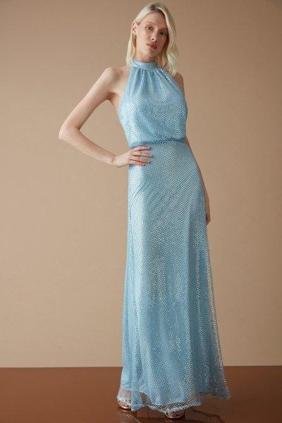 Vestito lungo elegante turchese - Schiena scoperta - Vestiti Gogolfun.it