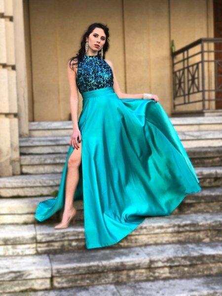 Abito lungo, verde con spacco  - Cerimonia donna - Elegante - Gogolfun.it