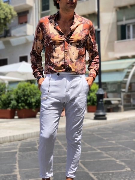 Camicia uomo estiva, manica lunga
