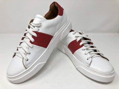 Buty sportowe męskie  - Skórzane - Sneakers - Kolor biały - Made in Italy -  Sklep online - Gogolfun.pl