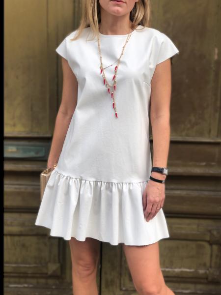 Vestito corto, bianco - Vestito in ecopelle - Abito corto - Gogolfun.it