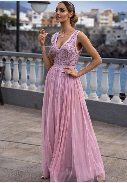 Vestito lungo elegante, rosa - Doppio spacco