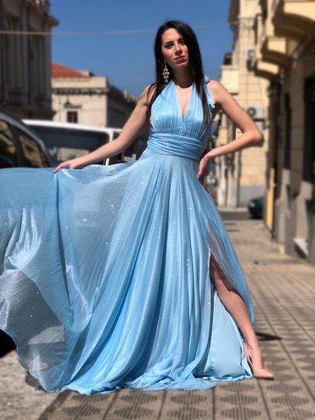 Vestito azzurro, schiena scoperta - Cerimonia donna - Vestiti eleganti - Gogolfun.it