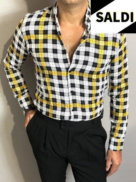 Camicia a quadri - Slim - Primaverile -  Nera e gialla - Camicie manica lunga - Botton down - Gogolfun.it