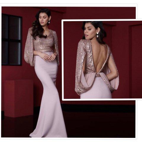 Abito elegante lungo - Vestito da matrimonio - Abito rosa - Gogolfun.it