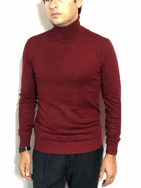 Sweter męski, golf - kolor bordowy - Made in Italy - Odzież męska - Gogolfun.pl