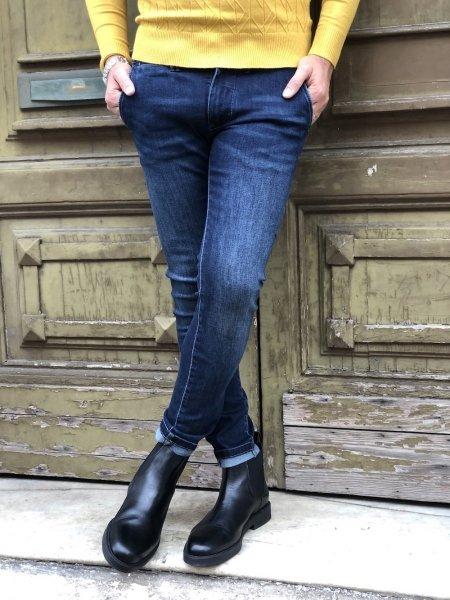 Jeansy męskie – Slim Fit -  niebieskie - Key Jey - Made in Italy