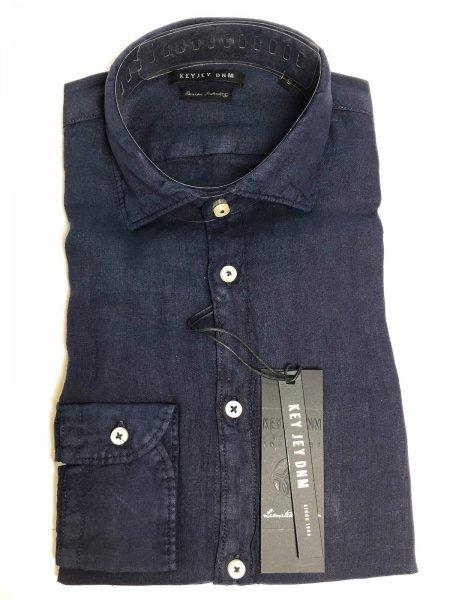 Lniana koszula - Niebieska - Długie rękawy - Key Jey - Koszule męskie - Gogolfun.it