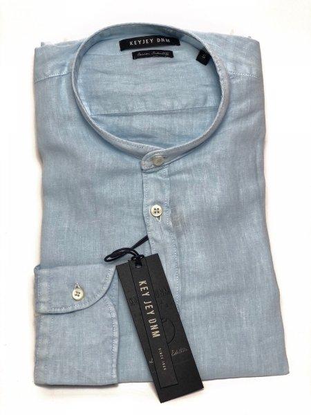 Lniana koszula, Błękitna - koreański kołnierzyk - Key Jey - Negozio abbigliamento gogolfun.pl