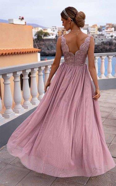 Vestito lungo elegante, rosa - Con spacco - Jojo