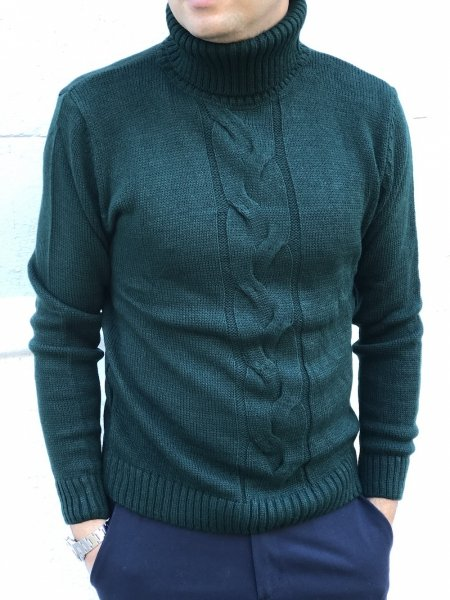 Maglione a collo alto - Dolcevita uomo, verde - Maglione verde, Maglioni caldi - Gogolfun.it