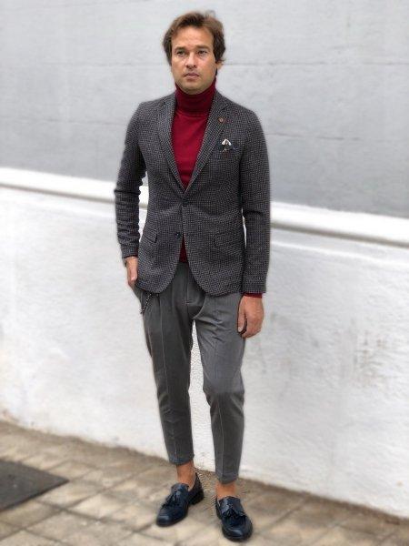 Spodnie męskie slim, cropped - kolor szary - Made in Italy - Odzież męska - Gogolfun.pl