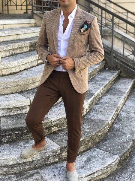 Blazer gessato, cammello - Abbigliamento uomo gogolfun.it