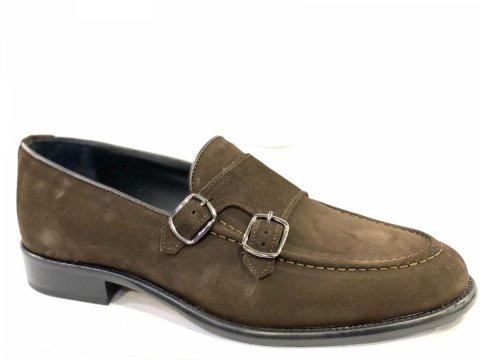 Skórzane buty męskie, zamszowe - brązowe - Monki - Włoskie - Obuwie męskie - Gogolfun.pl